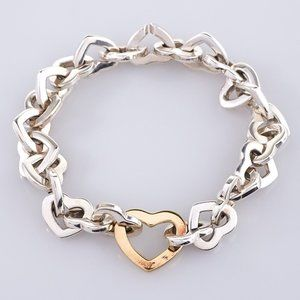Tiffany & Co. Silver and 18K Gold Heart Bracelet